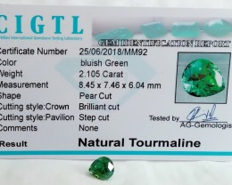 Certified|CIGTL~2.105Cts Museum Grade Green color Tourmaline Gems