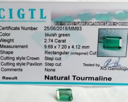Certified|CIGTL~2.74 Cts Museum Grade Green color Tourmaline Gems