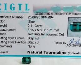 Certified|CIGTL~2.11 Cts Museum Grade Blue color Tourmaline Gems