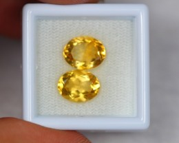 4.70Ct Yellow Citrine Oval Cut 2 Pcs Gems Lot Z13