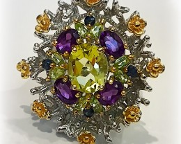 A Faerie Woodland Citrine Amethyst Gold and Sterling Silver Ring size 9