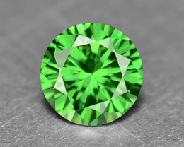 0.11 Cts Natural Parrot Green Diamond Round Africa