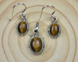 NATURAL UNTREATED TIGER EYE PENDANT EARRINGS SET 925 STERLING SILVER JE451