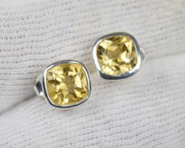 NATURAL UNTREATED CITRINE EARRINGS 925 STERLING SILVER JE454