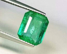 3.62 ct Beautiful Green Emerald Cut Natural Emerald