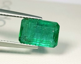 2.90 ct Top Luster Green Emerald Cut Natural Emerald