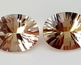 3.35Crt Fancy Ametrine Pair  Best Grade Gemstones JI80