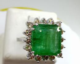Stunning 13.22 cts Zambian  Emerald Diamond Ring , 14kt Solid White gold
