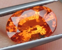 3.17cts Mandarin Garnet,  Untreated Vivid Stone,  Clean