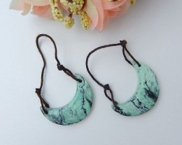 26.5ct Natural Green Turquoise Earring Pair (18072201)