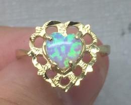 (B1) $1500 Nat. 0.45ct Australian Opal Designer Ring 10K  YG 1.83gr