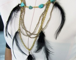 TURQUOISE /HOWLITE BLACK FEATHER STYLE NECKLACE QT177
