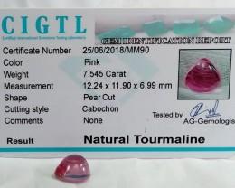 Certified|CIGTL~7.545 Cts Museum Grade|Pink color Tourmaline Cab