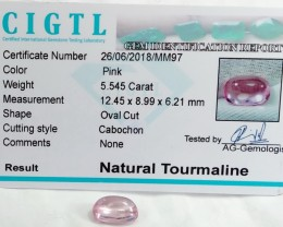 Certified|CIGTL~5.545 Cts Museum Grade|Pink color Tourmaline  Cabo