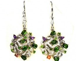 Opulent Chrome Diopside Sapphire Amethyst Sterling Silver .925 Earrings