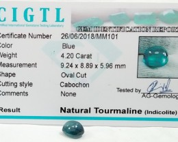 Certified|CIGTL~4.20 Cts Blue color Tourmaline Cabocho