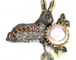 Lucky Rabbit - Pearl, Spinel, Garnet studded Brooch Black Rhodium and Gold