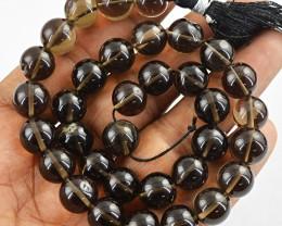 Genuine 230.00 Cts Smoky Quartz 12 Inches Long Beads Strand