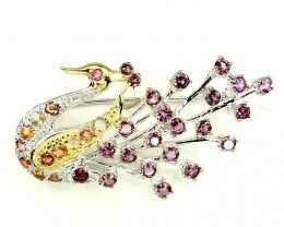Peacock Garnet Sapphire Gold and Sterling Silver Brooch Adornment