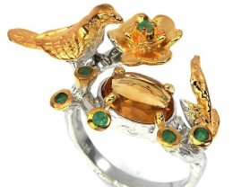 The Golden Bird' Hand worked Citrine Emerald Sterling Gold Ring Size 10