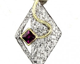 Contemporary Rhodolite Garnet 14kt Yellow Gold .925 Sterling Silver Pendant