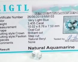 Certified CIGTL |3.435Ct| Museum Grade | Blue Aquamarine Gemstone