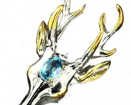 A MAGNIFICENT huge Deer Topaz Ring Size 9 Sterling Silver and 14kt Gold