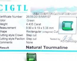 Certified|CIGTL~4.435  Cts Museum Grade Green color Tourmaline Gem