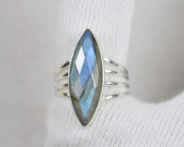 NATURAL UNTREATED LABRADORITE RING 925 STERLING SILVER JE456