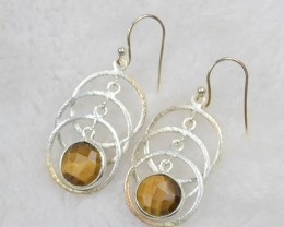 NATURAL UNTREATED TIGER EYE EARRINGS 925 STERLING SILVER JE457
