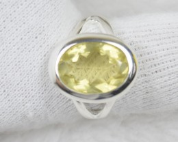 NATURAL UNTREATED CITRINE RING 925 STERLING SILVER JE458