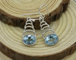 NATURAL UNTREATED BLUE TOPAZ EARRINGS 925 STERLING SILVER JE459
