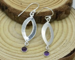 NATURAL UNTREATED AMETHYST EARRINGS 925 STERLING SILVER JE461