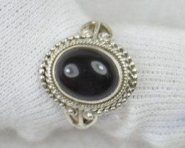 NATURAL UNTREATED BLACK ONYX RING 925 STERLING SILVER JE462