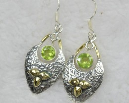 NATURAL UNTREATED PERIDOT EARRINGS 925 STERLING SILVER JE463