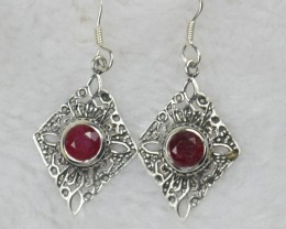 NATURAL RUBY EARRINGS 925 STERLING SILVER JE465 treated stone