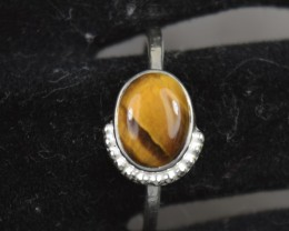 NATURAL UNTREATED TIGER EYE RING 925 STERLING SILVER JE466