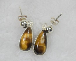 NATURAL UNTREATED TIGER EYE EARRINGS 925 STERLING SILVER JE467