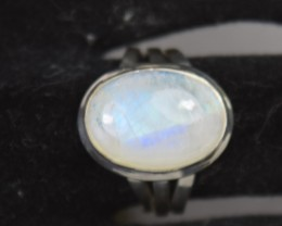 NATURAL UNTREATED RAINBOW MOONSTONE RING 925 STERLING SILVER JE468