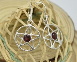 NATURAL UNTREATED GARNET EARRINGS 925 STERLING SILVER JE471