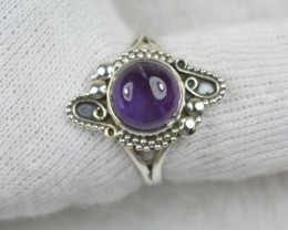 NATURAL UNTREATED AMETHYST RING 925 STERLING SILVER JE472