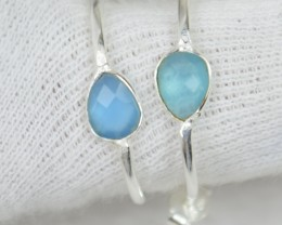 NATURAL UNTREATED CHALCEDONY EARRINGS 925 STERLING SILVER JE473