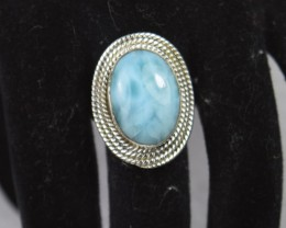 NATURAL UNTREATED LARIMAR RING 925 STERLING SILVER JE474