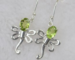 NATURAL UNTREATED PERIDOT EARRINGS 925 STERLING SILVER JE475