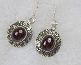NATURAL UNTREATED GARNET EARRINGS 925 STERLING SILVER JE477