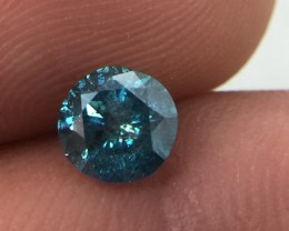 (B1) Gorgeous IGL Cert $2050 Nat 0.63ct. Round  Brilliant Blue Diamond