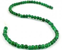 Genuine 80.00 Cts Green Jade Round Beads Strand
