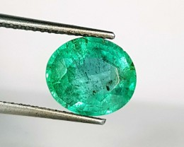 2.37 ct Amazing Green Oval Cut Natural Emerald