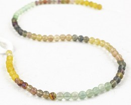 Genuine 65.00 Cts Multicolor Fluorite Round Shape Beads Strand