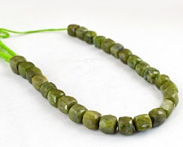 Genuine 258.00  Cts Green Garnet Faceted Beads Strand